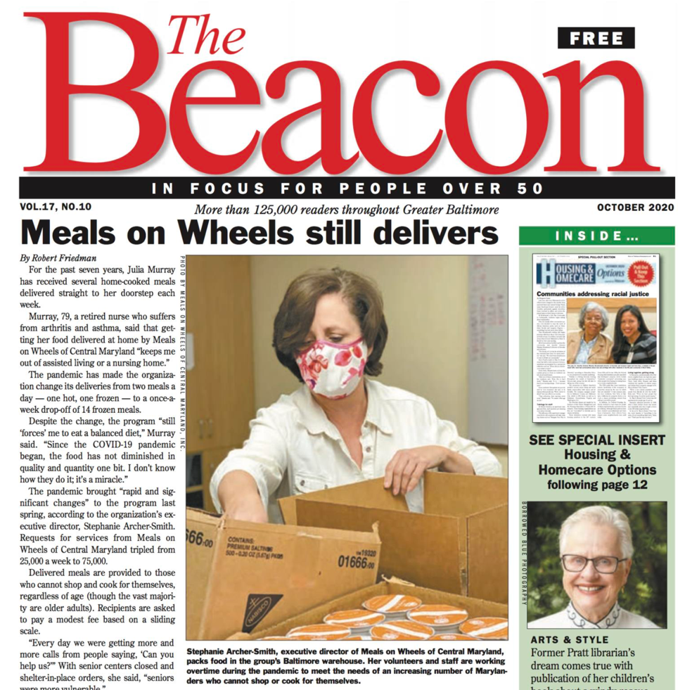 News article featuring Meals on Wheels of Central Maryland